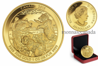2015 - $200 - 1 oz. Pure Gold Coin – Grizzly Bear: The Clan