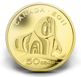 2011 - 50 Cents - 1/25 Ounce Pure Gold Coin - Orca Whale
