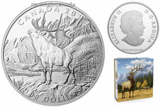 2016 - $100 Fine Silver Coin - The Noble Elk
