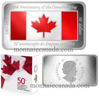 2015 - $50 - 1.5 oz. Fine Silver Coloured Rectangular Coin - 50th Anniversary of the Canadian Flag -