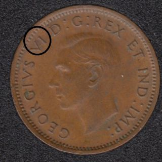 1947 ML - Break V to Rim - Canada Cent