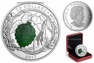 2017 - $20 - 1 oz. Pure Silver Coin – Brilliant Birch Leaves With Drusy Stone