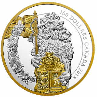 2018 - $100 - 10 oz. Pure Silver Gold-Plated Coin - Keepers of Parliament: The Lion