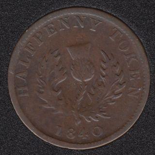 N.S. 1840 Half Penny Token - NS-1E1