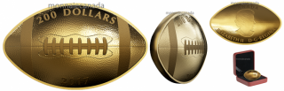2017 - $200 - 1 oz. Pure Gold Football-Shaped and Curved Coin
