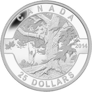 2014 - $25 - 1 oz. Fine Silver Coin - Under the Maple Tree
