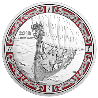 2018 - $20 - 1 oz. Pure Silver Coloured Coin - Norse Figureheads: Viking Voyage