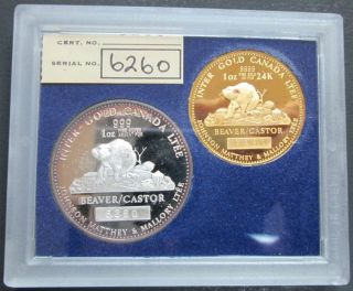 1978 Johnson Matthey Fine Gold & Silver Beaver Proof - 1 OZ - No Tax