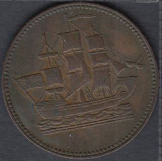 P.E.I. 1835 - Ship Colonies & Commerce - Half Penny Token - VF - PE-10-28