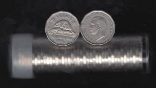 1947 Canada 5 Cents - Maple Leaf - 40 Coins in Plastic Tube