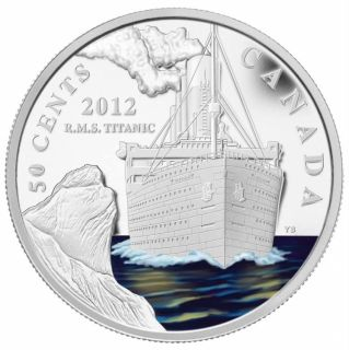 2012 -50 Cents - R.M.S. Titanic - Silver-Plated Coloured Coin