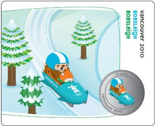 2010 - 50 Cents - Vancouver – Bobsleigh Mascot Collector Card