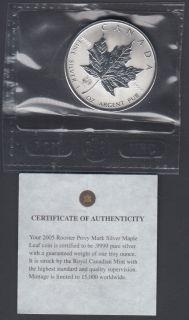 2005 Canada $5 Dollars Fine Silver - Privy Mark - Rooster - 1 Oz - Flex Seal