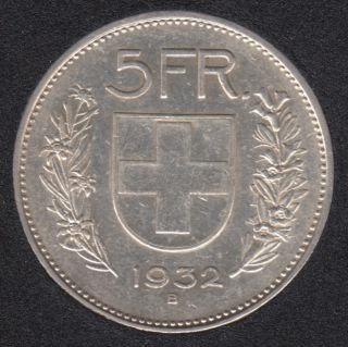 1932 B - 5 Francs - Switzerland