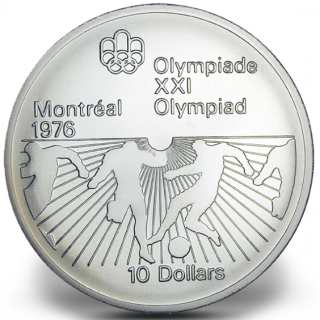 1976 - #23 - $10 - Sterling Silver Coin, Montreal Summer Olympic Games, Soccer