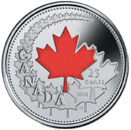 2004 P Canada Day Colorized 25 Cents