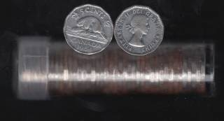 1954 Canada 5 Cents - 40 Coins in Plastic Tube