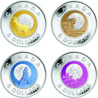 2011-2012 - 5$ - Silver WOLF and Niobium Coins - Full Moon Series (4 Coins)