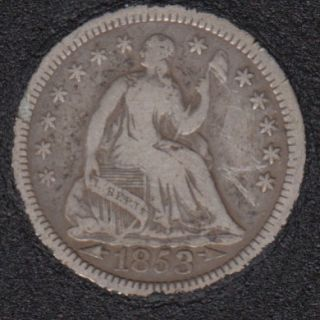 1853 - Liberty Seated - Arrows - Rim Nick - Half Dime