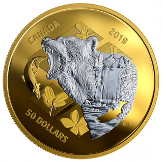 2019 - $50 - 5 oz. Pure Silver Gold Plated Coin - Inner Nature: Grizzly Bear