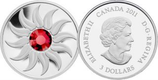 2011 - $3 - Fine Silver Coin - July Birthstone (Ruby)
