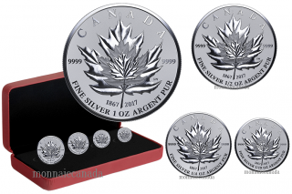 2017 - Pure Silver 4-Coin Fractional Set - Maple Leaf Tribute