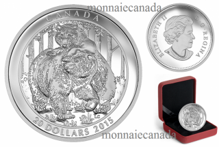 2015 - $20 - 1 oz. Fine Silver Coin – Grizzly Bear: Togetherness