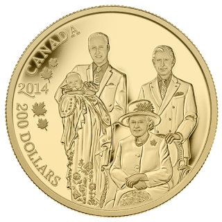 2014 - $200  Gold - Royal Generations: Her Majesty Queen Elizabeth II,Prince Charles,William,Georges