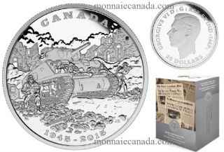 2015 - $20 - 1 oz. Fine Silver Coin - 70th Anniversary of the End of the Italian Campaign