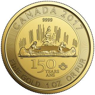 2017 - Canada $150 - Special Edition 150 Years Voyageur - 1 Oz Fine Gold