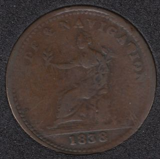 N.S. 1838 - Trade & Navigation - Pure Copper Preferable to Paper - Penny Token - NS-22