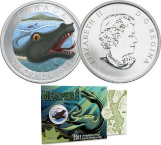 2011 25 Cents - Coloured Coin - Memphre Mythical Creatures