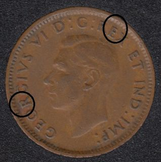 1943 - Break E & R to Rim - Canada Cent