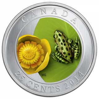 2014 - 25 Cents - Coloured Coin - Water-lily and Leopard Frog
