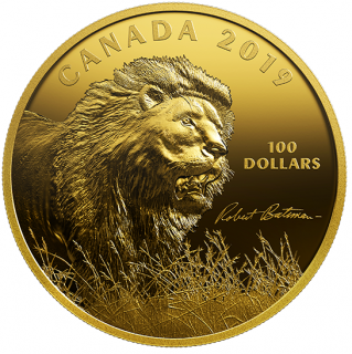 2019 - $100 -   10 oz. Pure Silver Gold-Plated Coin - Robert Bateman's Into the Light - Lion
