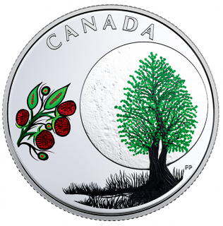 2018 - $3 - Pure Silver Coloured Coin - Thirteen Teachings From Grandmother Moon: Raspberry Moon