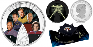 2017 - $30 - Star Trek™: Five Captains - 2 oz. Pure Silver Coloured Glow-in-the-Dark Coin