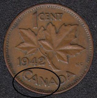 1942 - Break CANA attached to Rim - Canada Cent