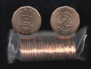 2010 Canada $1 Dollar - Vancouver Olympic Games - BU ROLL 25 Coins - UNC
