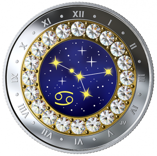 2019 - $5 - Cancer: Zodiac Series - Pure Silver Coin made with Swarovski® Crystals