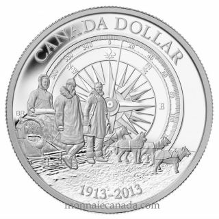 2013 - Proof Fine Silver Dollar - 100th Anniversary of the Canadian Arctic Expedition