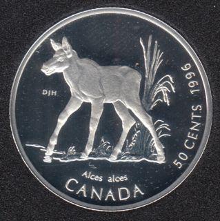 1996 - Proof - Moose Calf - Silver - Canada 50 Cents