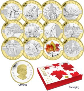 2013 - $10 - 1/2 oz. Fine Silver 12-Coin Set Gold Plated - O Canada