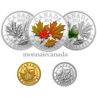 2014 - Fine Silver, Gold & Platinum - Overlaid Majestic Maple Leaves Set