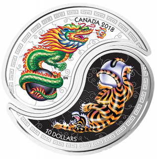2018 - $10 - 1 oz. Pure Silver Coins - Black and White Yin and Yang: Tiger and Dragon