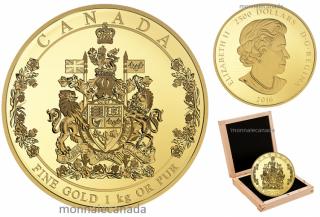 2016 - $2500 - Pièce de un kilogramme en or pur – Armoiries du Canada