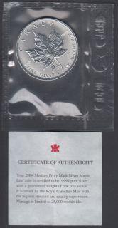 2004 Canada $5 Dollars Fine Silver - Privy Mark - Monkey - 1 Oz - Flex Seal