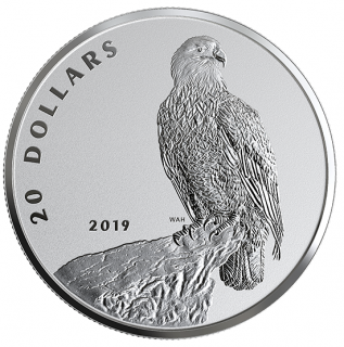 2019 - $20 - 1 oz. Pure Silver Coin - The Valiant One: Bald Eagle