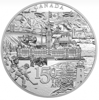 2018 - $500 - 5 Kilogram Pure Silver Coin - Canada 150 From Coast to Coast to Coast