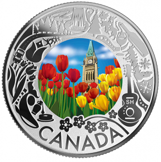 2019 - $3 - Pure Silver Coloured Coin - Tulips: Celebrating Canadian Fun and Festivities